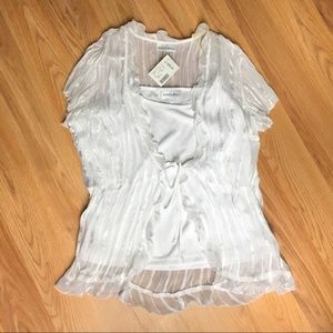 NWT White Silky Cardigan and Tank Set Size L
